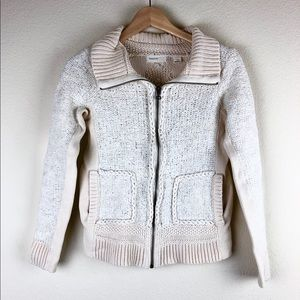 [Anthropologie] Cable and Pom Pom Zip Cardigan - S